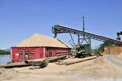 Transportör som transporterar sawdust in i en skyttel royaltyfria foton