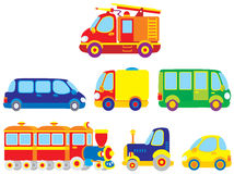 Transport 002. Children's illustrations and clip-arts cars for your design Stock Images