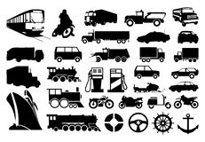 Transport. Collection of silhouettes of various transport. A  illustration Stock Photos