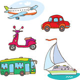 Transport. The plane, the boat,  the red car,  the violet scooter, the green bus Royalty Free Stock Photo