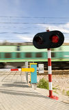 Transport. Locomotive rushing and red light for drivers Stock Images