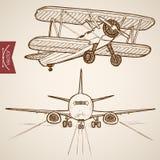 Transport aérien tiré par la main de vecteur de vintage de gravure Image libre de droits