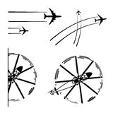 Transport aircrafts. Set of transport aircrafts. Airplane, helicopter, lines of flight paths. Vector illustration Royalty Free Stock Images