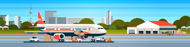 Transport airplane express delivery preparing flight aircraft airport air cargo international transportation concept. Forklift loading parcel boxes flat royalty free illustration