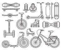 Transport alternatif et instruments de ville illustration stock