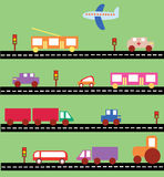 Transport auf dem Straßenvektorbild Stockfotografie