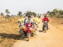 Transport auf Motorrad stockfotos