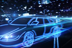Transport and auto concept. Creative drawing of blue digital car on blurry night city background. Transport and auto concept. 3D Rendering Royalty Free Stock Photos