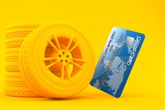 Transport background with credit card. In orange color Royalty Free Stock Photos