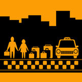 Transport background with family, luggage and taxi. Yellow transport background with family, luggage and taxi cab silhouette Royalty Free Stock Images
