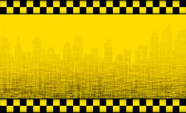 Background with taxi sign and city silhouette vector illustration