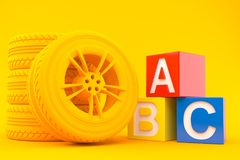 Transport background with toy blocks. In orange color. 3d illustration Stock Images