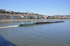 Transport by barge on the Danube, Budapest. Royalty Free Stock Image