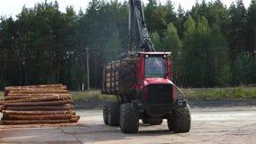 Transport bele, ciężarówka z belami, czerwieni ciężarowy przewożenie notuje przy tartakiem zbiory wideo