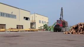 Transport bele, ciężarówka z belami, czerwieni ciężarowy przewożenie notuje przy tartakiem zdjęcie wideo