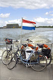 Transport of Bicycles across the river, Netherlands. Netherlands, province South Holland, Gorinchem city: Typical Dutch landscape, on the ferry to Sleeuwijk of stock photos