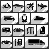Transport black icons. On white paper stickers-09 stock illustration