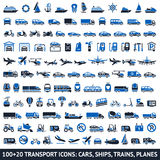 100 AND 20 Transport blue icons. Vector illustrations, silhouettes isolated on white background Stock Photo