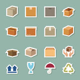 Transport box color icons Royalty Free Stock Photos