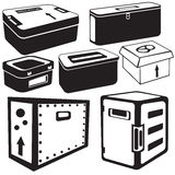 Transport box icons. Vector illustration of seven different transport box black icons for different purposes vector illustration