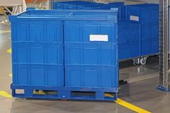 Blue Plastic Transport Boxes royalty free stock photography