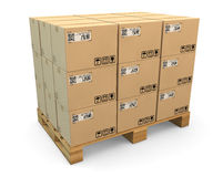Transport boxes on freight pallet Stock Photo