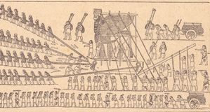 Transport of a bull. The enormous block of stone, whose height was 4 to 5 meters, was placed on a wooden cart and held by a scaffolding, which men supported on vector illustration