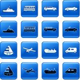 Transport buttons. Collection of blue square transportation rollover buttons Royalty Free Stock Image