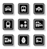 Transport buttons with white silhouette Royalty Free Stock Images