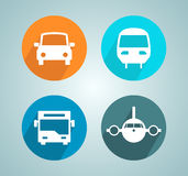 Transport Car Bus Plane Train Flat Modern Circle Icon Set Stock Photography
