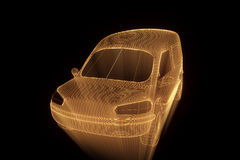 Transport Car in Hologram Wireframe Style. Nice 3D Rendering Stock Image