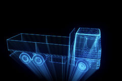 Transport Car in Hologram Wireframe Style. Nice 3D Rendering Stock Photos