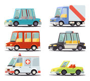 Transport Car Vehicle Icon Design Stylish Retro Cartoon Flat  Vector Illustration Royalty Free Stock Images