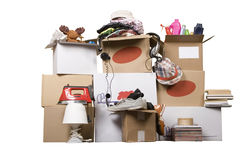 Transport cardboard boxes, relocation concept Stock Photos