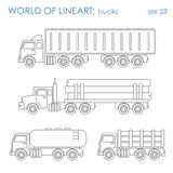 Transport cargo log oil cistern graphical line art vector set Stock Photography