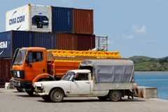 Transport cargo in port of Nosy Be, Madagascar. NOSY BE ,MADAGASCAR - NOVEMBER 3.2016 Malagasy peoples prepare ship carriage in port of Nosy Be, Madagascar`s royalty free stock image
