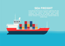 Transport cargo sea ship with containers. Sea transportation logistic, sea freight. Space for text Royalty Free Stock Photos