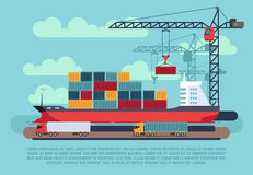 Transport cargo sea ship loading containers by harbor crane in shipping port vector illustration. Ship in sea port, cargo ship with container Royalty Free Stock Photo