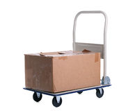 Transport cart with carton box Royalty Free Stock Photography