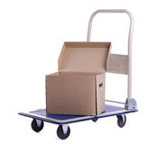 Transport cart with one open carton box Stock Photos