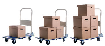 Transport carts with carton boxes Royalty Free Stock Photos