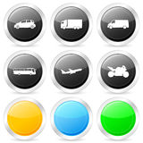 Transport circle icon set Stock Photo