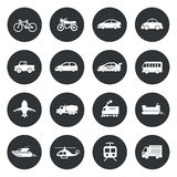 Transport circle Icons waterways, overland, air. Stock Photography