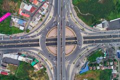 Transport circular junction traffic road with car royalty free stock images