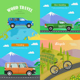 Transport. Collection of Four Auto Illustrations. Transport. Collection of Four Auto Pictures. Blue car on planet. Green pickup on road near mountains. Orange Stock Photography