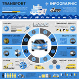 Transport Colored Infographics. With transport correlation on the chart railway autobus shipping traffic and different vector illustration Stock Images