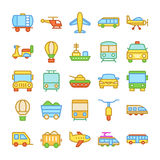 Transport Colored Vector Icons 1. Whether you like to travel by car, bus, train, bicycle, plane, boat or rocket ship, this Transport Vector Icons set is your one vector illustration