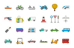 Transport colorful icons set. Set of 24 Transport colorful icons Royalty Free Stock Photo