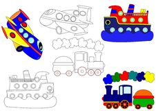 Transport -  coloring books Royalty Free Stock Photo