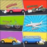 Transport Comic Frames Set Royalty Free Stock Photography